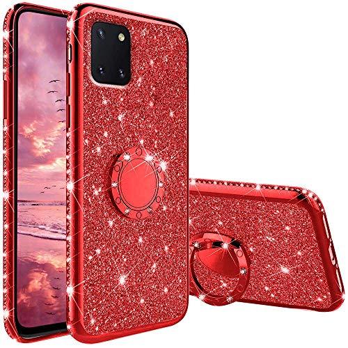 Coqin Hülle Kompatibel mit Samsung Galaxy Note 10 Lite, Glitzer Diamant Handyhülle mit Ring Ständer Schutzhülle, Superdünn Stoßfest TPU Silikon Tasche Glitzer Handyhülle Schutzhülle - Rot