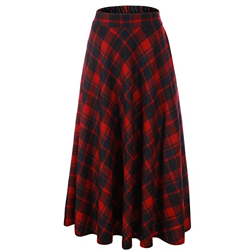d08c1ef963 Vocni Women Flared Plaid A-Line Winter Wool Blend Midi Long Skirt