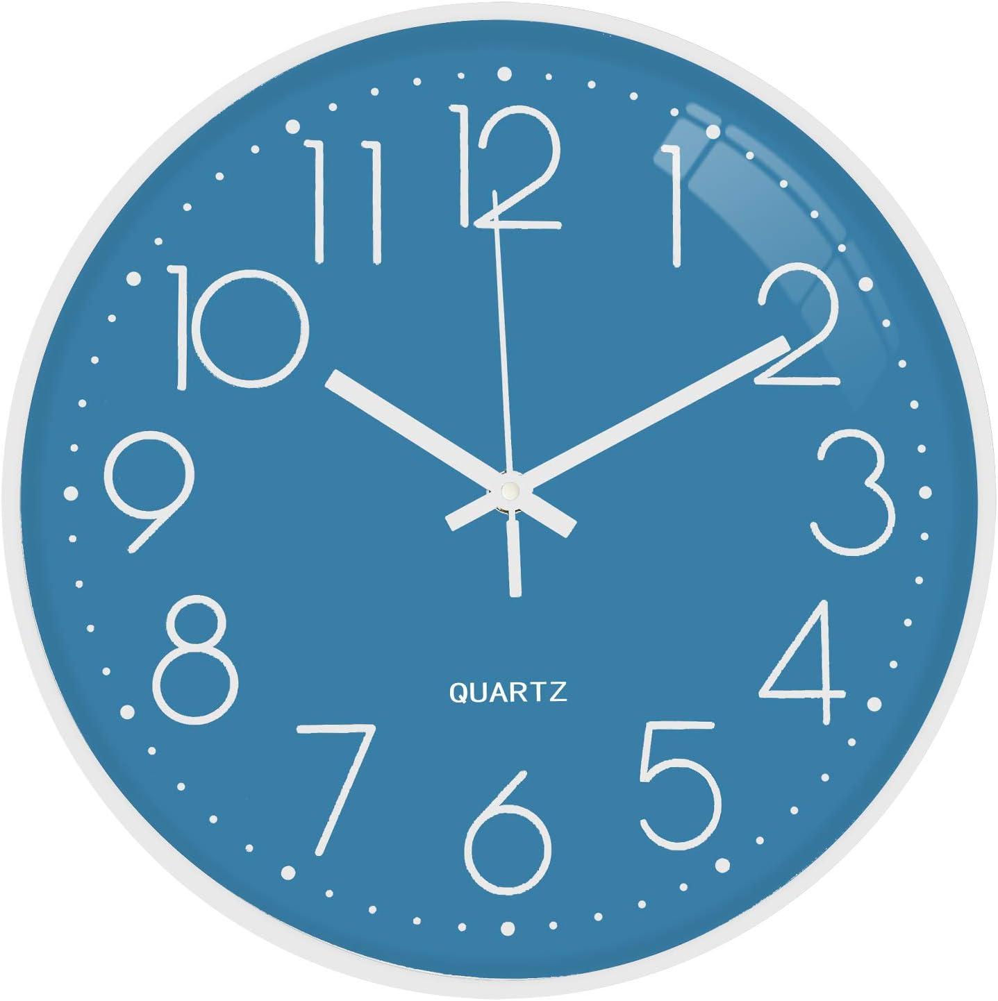 TOPPTIK Reloj de pared de 30,48 cm, moderno, digital, silencioso, funciona con pilas, fácil de leer, decoración para sala de estar, dormitorio, hogar, cocina, oficina, escuela, aula (azul)