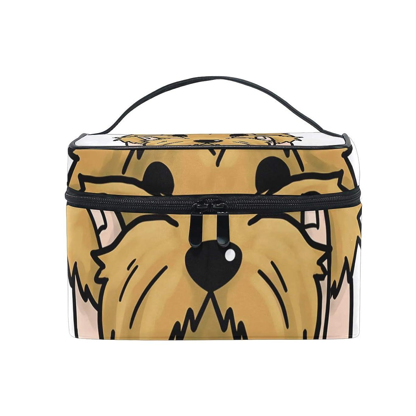 神聖小間出版メイクボックス ヨークシャーテリア柄 化粧ポーチ 化粧品 化粧道具 小物入れ メイクブラシバッグ 大容量 旅行用 収納ケース