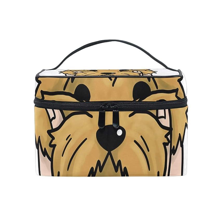 強打特定のエンドウメイクボックス ヨークシャーテリア柄 化粧ポーチ 化粧品 化粧道具 小物入れ メイクブラシバッグ 大容量 旅行用 収納ケース