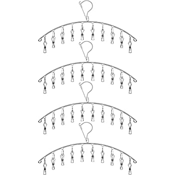 Toplife Clothes Hanger with 10 Clips, Stainless Steel, Windproof, for Drying Socks, Bras, Underwears, Baby Clothes, Hats, Scarfs, Towels, Pants, and Gloves, Set of 4