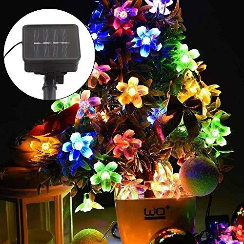 MorNon LED Luces Solares de Cadena de Hadas de Forma de Flor 7m Luces 50 LED Decorativas Guirnaldas Luminosas Impermeables de Exterior o Interior para Jardín Patio Hogar Bodas Fiesta Boda,Multicolor