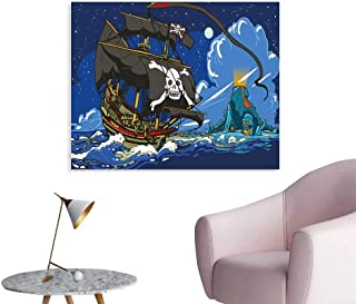 J Chief Sky Pirate Wall Paper Caribbean Waters Adventure Time Volcano with Sea Storm Skull Island Jolly Roger Decor Sticker W20 xL16