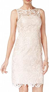 Womens Illusion Sheath Dress, Beige, 12
