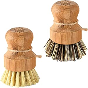 Dish Scrub Brush Bamboo - S&C Kitchen, Cleans Pan/Vegetable/Dishes/Wok, Bamboo Scrub Brush for Kitchen/Bathroom, Made Out of Palm & Sisal Bristles with a Handle, Vegetable Brush for Cleaning, Set of 2