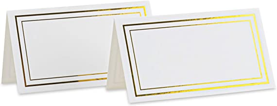 Purple Q Crafts Place Cards White with Gold Foil Border Tent Cards 2