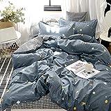 Blue Stars Bedding Galaxy Duvet Cover Set Blue Yellow Stars and White Black Grid Plaid Reversible Design Soft Microfiber Bedding Sets King 1 Duvet Cover 2 Pillowcases (King, Blue)