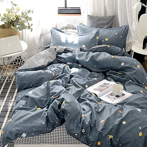 Star Galaxy Bedding Kids Boys Girls Duvet Cover Set Galaxy Universe and White Plaid Reversible...