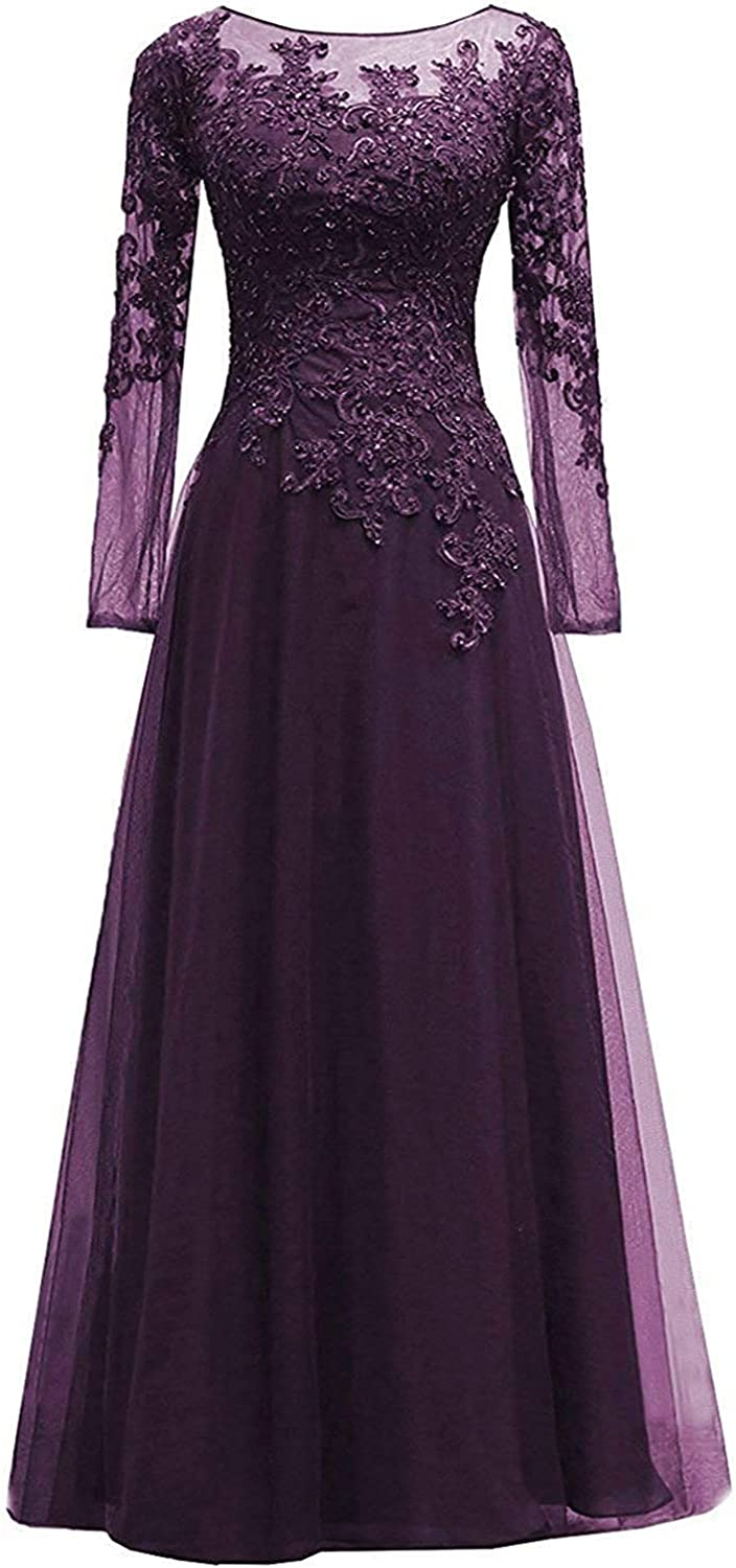 ONLYFINE Women's Lace s Mother Of The Bride Dress Long Sleeves Maxi Evening Gown