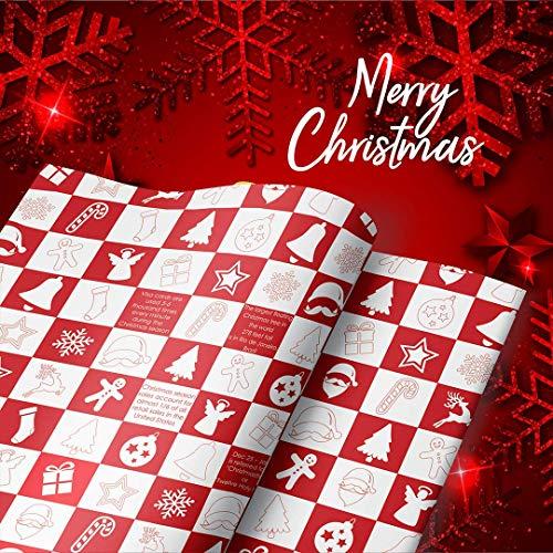 eVincE 25 Papel de regalo con diseño navideño a cuadros rojo y blanc