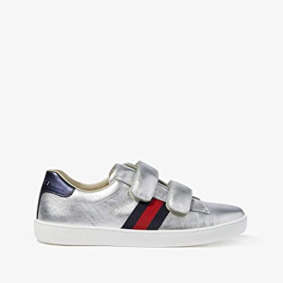Gucci Kids New Ace V.L. Sneakers (Little Kid/Big Kid) (Silver Metallic) Kids Shoes