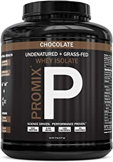 PROMIX: #1 Chocolate Undenatured Grass Fed Whey Isolate. Cold Processed -> Multi-stage Micro-filtration. 30G Protein /6.9G BCAA /.5G Fat /2G Carbs / <1g Lactose.Easy to Mix. (5LB bulk). Chocolate