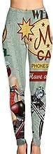 Yoga Pants Womens Motel Route 66 Vintage Poster High Waist Workout Pants