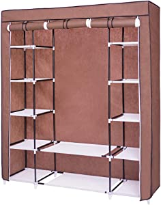Dainty Fabric Wardrobe with Hanging Rail 150 x 175 x 45 cm Large Folding Cabinet Sturdy with Zip
