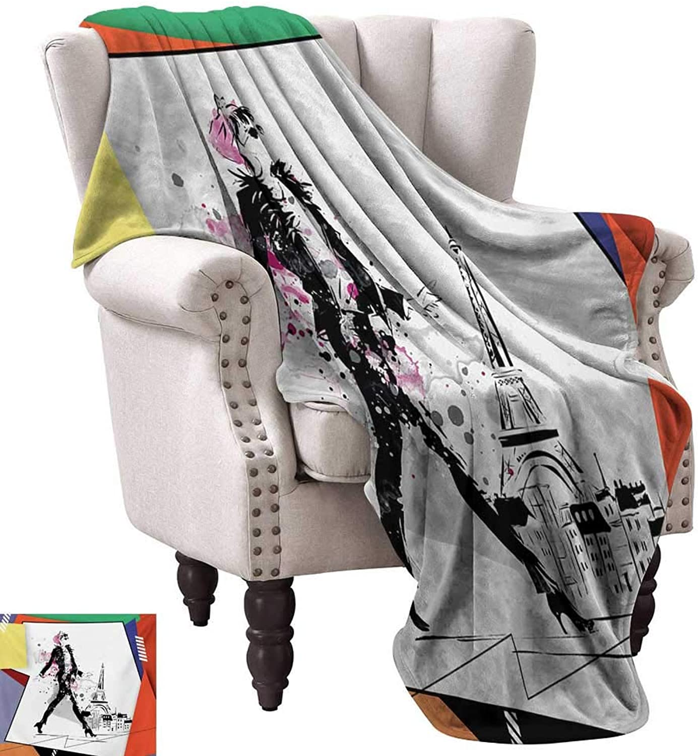 Anyangeight Warm Microfiber All Season Blanket,A Girl Walking in The Streets of Paris Sketch Style Romantic Eiffel Tower Image 60 x50 ,Super Soft and Comfortable,Suitable for Sofas,Chairs,beds