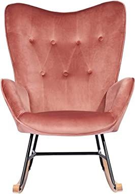 HOUSEINBOX.COM Armchair, Soft Velvet Upholstered Rocking Chair with Solid Wood Base, for Living Room Bedroom Pink