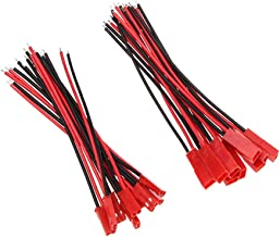 Yiqigou 10 Pairs Red JST Plug 2-pin Male Female Connector Adapter Lead with 3.93inch 22AWG Silicone Wire