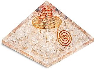 PREK Clear Quartz orgone Pyramid with Metal Flower pof Life symbolchakra Balancing Size 2.5-3 inch