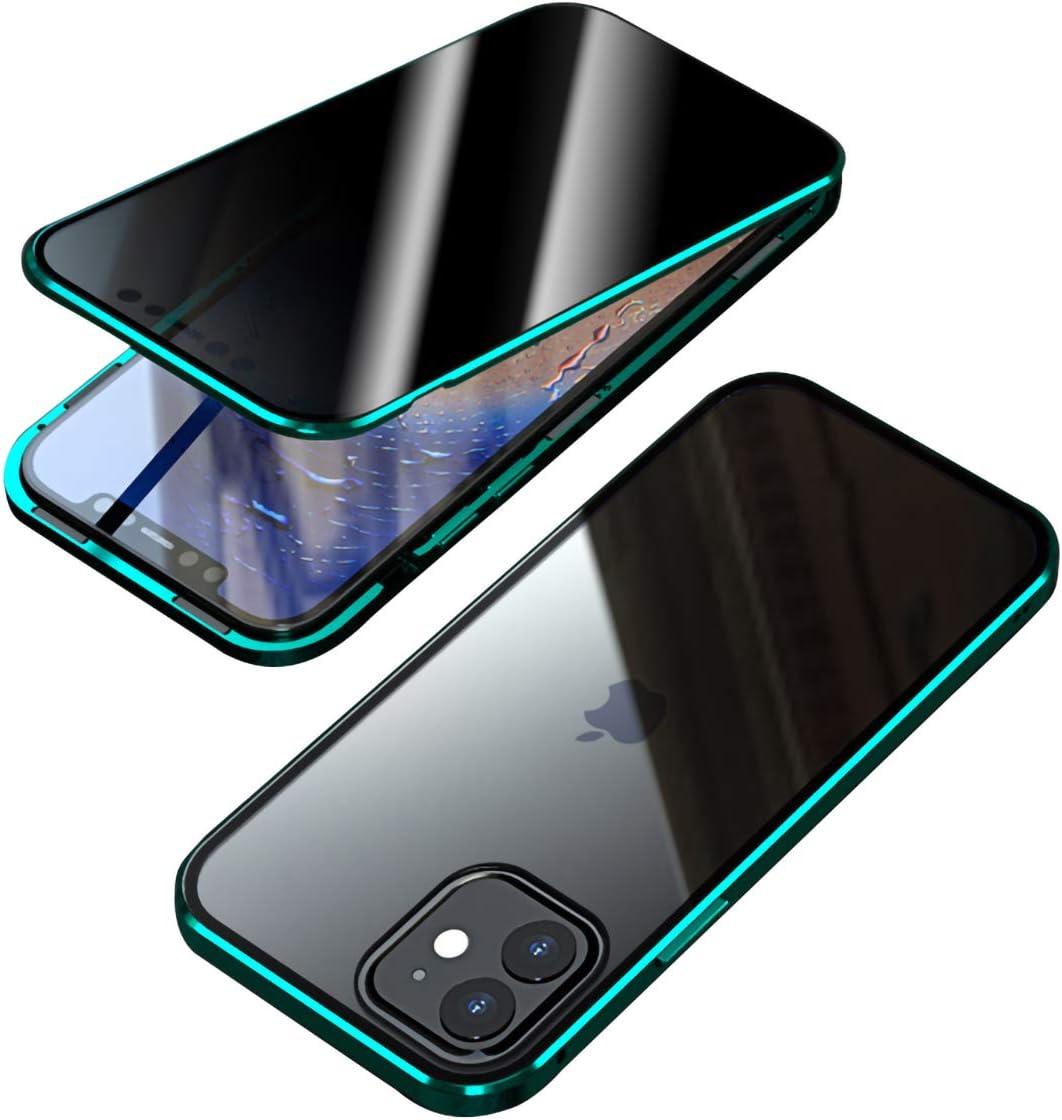 Coque pour iPhone 12//iPhone 12 Pro Anti Peep Magn/étique Housse,360/° Protection en Transparent Verre Tremp/é Anti-Espion /Étui Flip Cover Case,Rouge 6.1 Antichoc M/étal Cadre Bumper