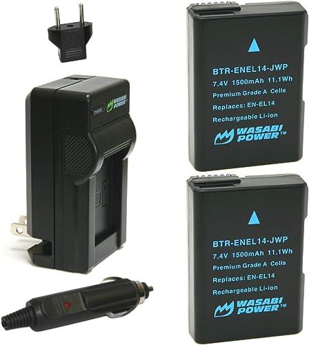 Wasabi Power Battery (2-Pack) and Charger for Nikon EN-EL14 EN-EL14a and Nikon P7000 P7100 P7700 P7800 D3100 D3200 D3...
