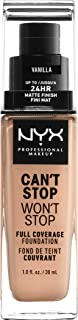 NYX PROFESSIONAL MAKEUP Can't Stop Won't Stop Full Coverage Foundation, Vanilla, 1 Fluid Ounce