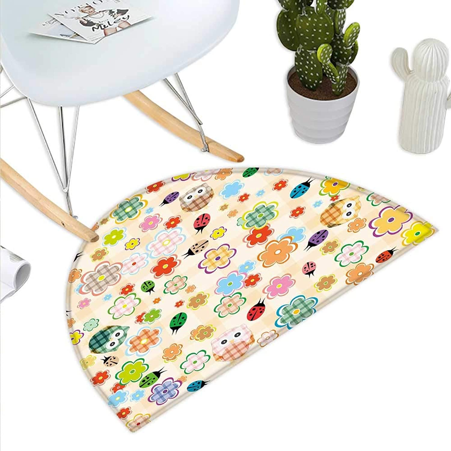 Nursery Semicircle Doormat Cute Owls and Flowers in colorful Drawing Style Nature Animal and Plant Life Fun Halfmoon doormats H 43.3  xD 64.9  Multicolor