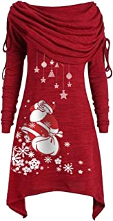 NANTE Top Loose Women's Blouse Christmas Print Ruched Long Foldover Collar Tunic Tops Womens Clothes Ladies Clothing Plus Size Costume