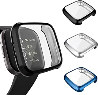 3 Pack Screen Protector Compatible Fitbit Versa 2 Case, GHIJKL Ultra-Thin Slim Soft TPU Protective Case All-Around Full Cover Bumper Shell for Fitbit Versa 2 Smartwatch, Black, Silver, Blue