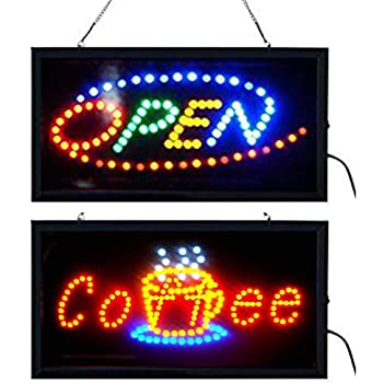 Alpine Industries LED Coffee Sign High Visibility Tempered Glass Signage 23 x 14 Noticeable Design for Business /& Retail Stores Oval