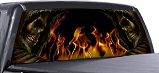 VuScapes - 780-SZD- GRIM REAPER SIDES FLAME Rear Window Truck Graphic - decal suv view thru vinyl