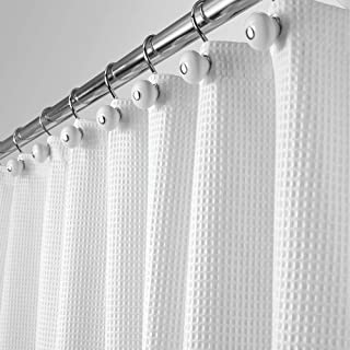 MDesign Extra Long Polyester Cotton Blend Fabric Shower Curtain Rustproof Metal Grommets