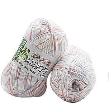 Ovillo de lana de bambú para tejer, 100% algodón de bambú, cálido, suave, natural, 50 g Colour C: Amazon.es: Hogar
