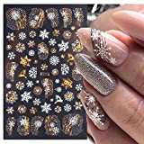 Fall Maple Leaf Nail Art Stickers Decals 8 Sheets Large 3D Embossed Bronzing Nail Art Supplies Nail Art Decoration Gold White Designs Nail Art Accessories for Women and Girls DIY Acrylic Nail Art