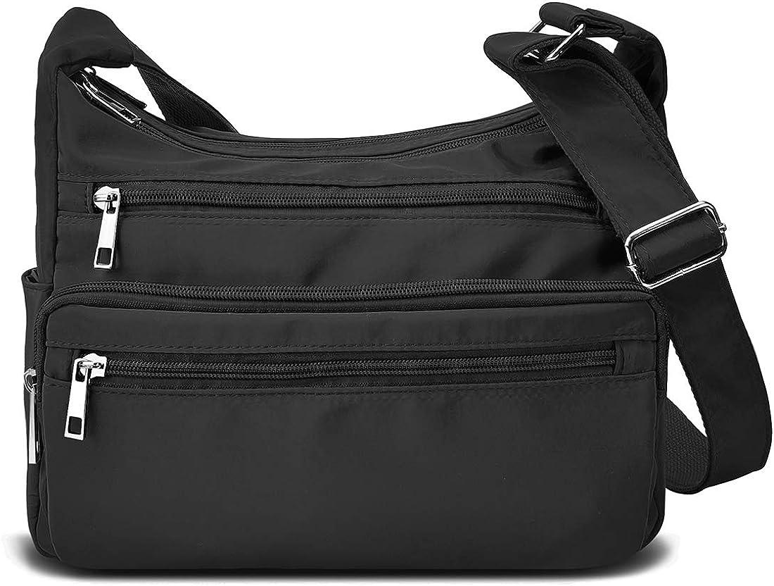 RFID Purses for Women Fabric Nylon Multi Pocket Crossbody Bag Ladies Travel Handbag