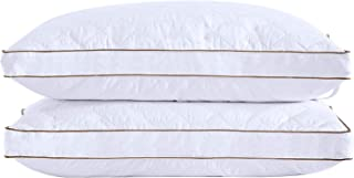 puredown® Goose Down Pillows for Sleeping Gusseted Bed Pillows Down Feather Pillows with 100% Cotton Cover Set of 2 Standard/Queen Size