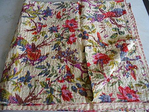 Tribal Asian Textiles - Colcha con diseño de pájaros, hech