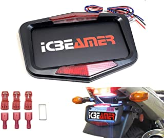 ICBEAMER Waterproof Universal Fit Most Motorcycle License Plate Frame w/ 6+ Flashing LED Tail +Brake Light [Matte Black]