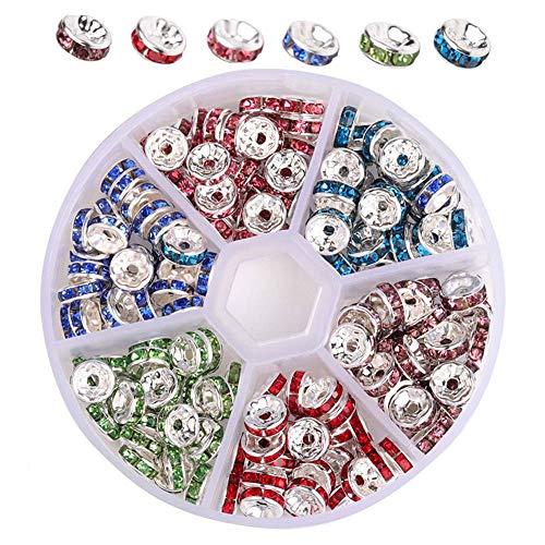 XJHLZT Accesorios Joyas De Anillos Diamantes, Perlas De Rueda De Diamantes De Colores De Cristal Perlas Espaciadoras Artesanales Se Puede Utilizar para Hacer Joyas De180 Pcs