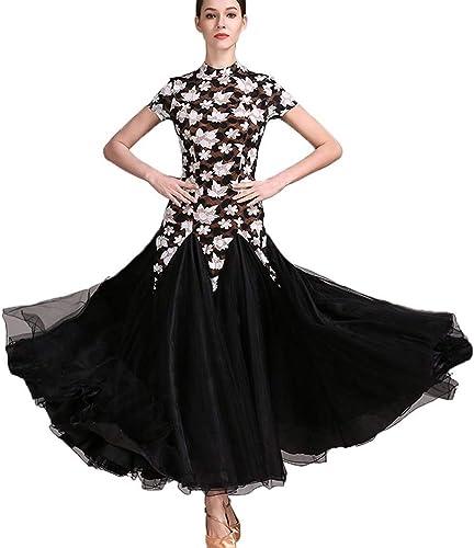 DRESSS Robe de Danse Moderne Jupe Adulte Dames col Montant, Manches Courtes, Costume de soirée dansante