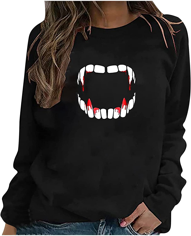 Womens Halloween Shirts O-Neck Long Sleeve Shirt Skeleton Pumpkin Skull Print Blouse Trendy Casual Shirt Loose Fit Tops