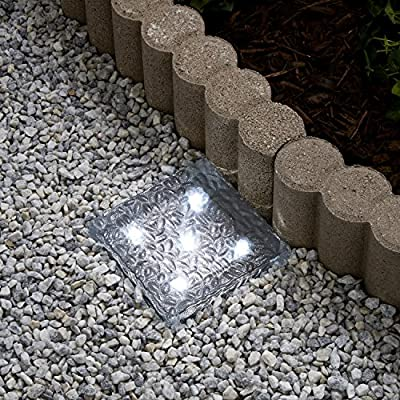 """Solar 4 LED Clear Glass Brick Light - In 3 great colors - 4"""" x 4"""""""