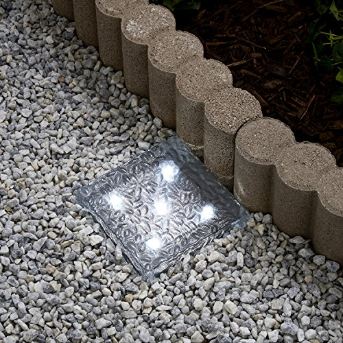 Solar Brick LED Landscape Light, Cool White, 6x6 Size, Glass, Waterproof, Outdoor Use, Solar Panel & Rechargeable Battery Included
