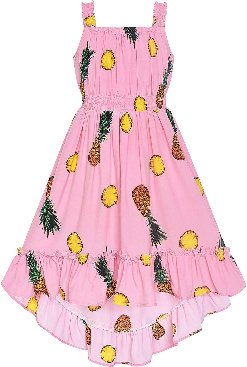 Sunny Fashion Girls Dress Yellow Leaf Sleeveless Summer Party Size 6-12