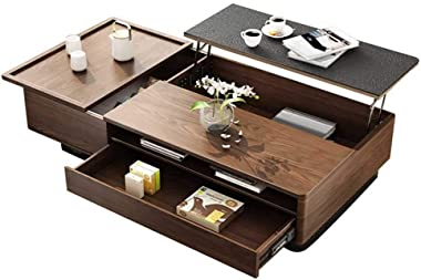 Lift Top Coffee Table - Wood Cocktail Table with Hidden Compartments & Open Shelf - Rising Center/Acent Table for Living