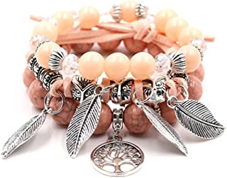 Fashion Bohemian Multilayer Bead Bracelets Leaves Tree of Life Charm Wrap Bracelet for Women Girls