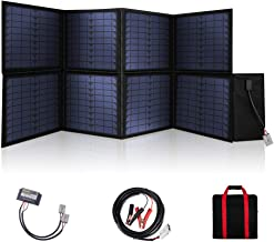 MEGSUN 120W Foldable Solar Panel 12V Monocrystalline Panel Solar with USB Device Controller Ideal for Camping, Caravan, Motorhome Rallies, Mobile Offices 12V System(Black) in Suitcase