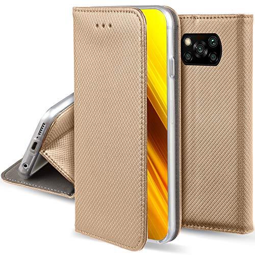Moozy Cover per Xiaomi Poco X3 NFC, Oro - Custodia a Libro Flip Smart Magnetica con Appoggio e Porta Carte