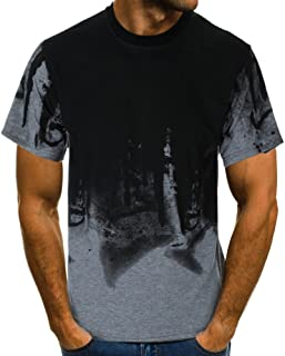 3D Printed T Shirt for Men Slim Fit Muscle Short Sleeve O Neck Casual Tops Blouse