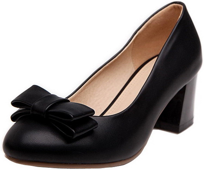 WeenFashion Women's Pull-On Round-Toe Kitten-Heels PU Solid Pumps-shoes, Black, 35